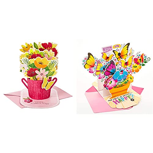 Hallmark Paper Wonder Mothers Day Pop Up Card (Flower Bouquet, You Deserve This Day) & Hallmark Pop Up Mother's Day Card with Song for Mom (Pot of Butterflies, Plays Happy by Pharrell Williams)