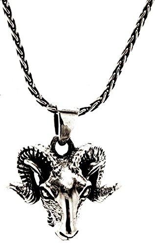 Kiss of Leather Widderkopf Anhänger aus 925 Sterling Silber mit Silberkette 1.5 mm (55)