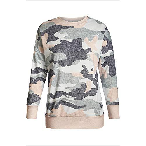 YOURUOMEI dames camouflage ronde lederen trui top
