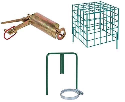 VOSS.farming Göbel Wühlmausselbstschussfalle inklusive Selbstschusshalter, Sicherheitskorb, Wühlmausfalle, Schussfalle, Selbstschuss Apparat, Falle gegen Wühlmäuse