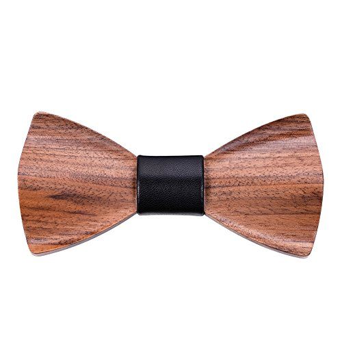 Mr.Van Natural Wood Bow Ties Handcrafted Wooden Adjustable Bowties with Gift Box Gifts for men