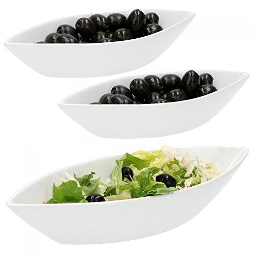 Van Well 3-TLG. Schiffchen-Set Büfett | 1x 650 ml + 2X 180 ml | Oliven-Schiff | längliche Salat-Schalen | edles Marken-Porzellan | weiß | Gastro