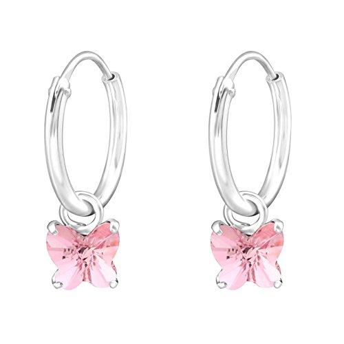Sl-Silver, orecchini, a cerchio, con piccola farfalla di cristallo. Argento 925. Inclusa la confezione regalo