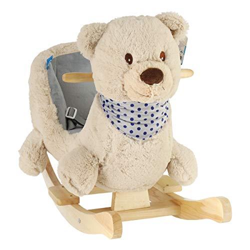 Bieco Plüsch Schaukeltier Bär Crme 62x30x48cm | Schaukelpferd Baby | Schaukeltier Baby | Kinderschaukel Indoor | Baby Wippe | Baby Schaukel | Schaukel Baby Spielzeug ab 1 Jahr | Holz Spielzeug Baby