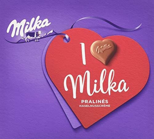 Milka I Love Milka Nuss-Nougat Pralinen - Pralinen aus Nuss-Nougat-Crème umhüllt von zarter Alpenmilch Schokolade - 5 x 110g