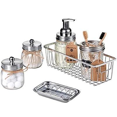 Mason Jar Bathroom Accessories Set(6PCS) - Foaming Soap Dispenser,Toothbrush Holder,Qtip Holder,Apothecary Jars, Soap Dish,Mental Wire Storage Organizer - Rustic Farmhouse Decor (Brushed Nickel)