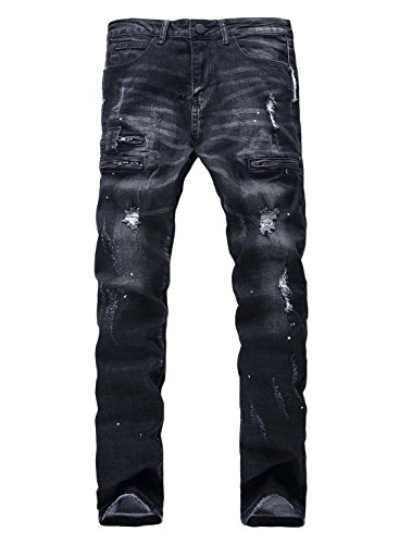 YTD Men's Black Jeans Ripped Distressed Slit Denim Slim Stretch Motor Pants (US 32, Black)