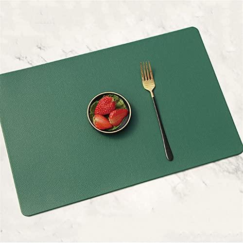 ABCABC Mesa de vajilla PLACEMAT Impermeable Almohadilla de café PU Mesa de Comedor de Cuero de la PU Maestra DE Color DE COLORIZADOR para Mesa DE Comedor (Color : Green, Size : One Size)