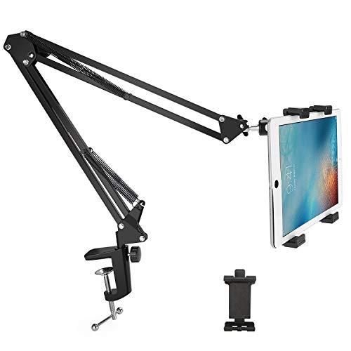 LFTS Handy- und Tablet-Ständer verstellbar mit Stahlarm Flexible, um 360 ° verstellbare Lazy-Mount-Bett-Tablet-Klemme für Handys Tablets von 7 bis 12,9 Zoll