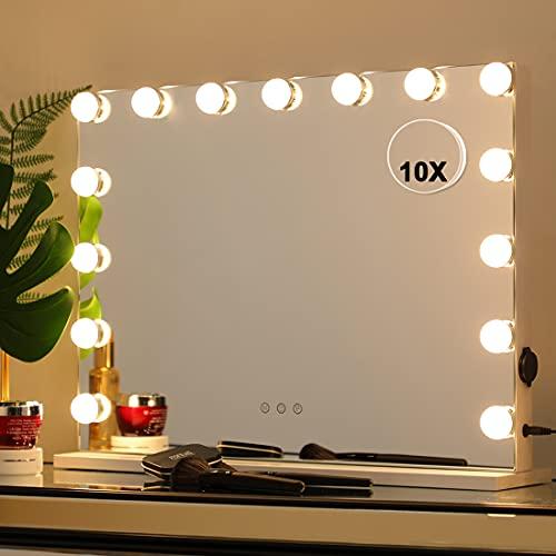 iCREAT Hollywood Miroir avec 15 ampoules LED Miroir de courtoisie avec lumières LED Miroir de maquillage cosmétique et 3 lumières à intensité variable Miroir grossissant détachable 10x Blanc 58×45cm