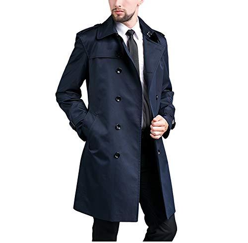 7サイズトレンチコートメンズステンカラートレンチコートダブルボタンミドル丈コートアウターベルト付き防風大きサイズビジネス秋おしゃれスリム紳士服(ネイビー,XL)