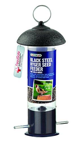 Gardman, Mangiatoia a colonna per uccelli, in acciaio, specifica per semi di niger, colore: Nero