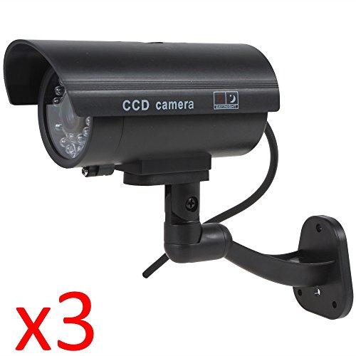 Kabalo 3 x Réaliste Caméra Factice sans Fil, Faux réaliste caméra Factice de sécurité CCTV LED Rouge Clignotante intérieure extérieure Noir