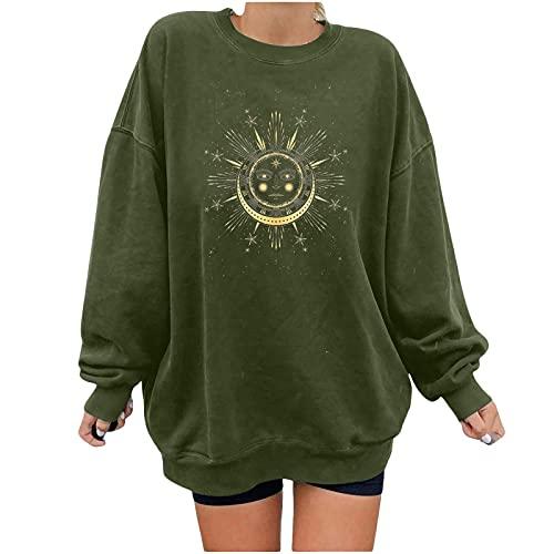 Bilbull Camiseta de manga larga para mujer con cuello redondo, estampado a rayas verde XXL