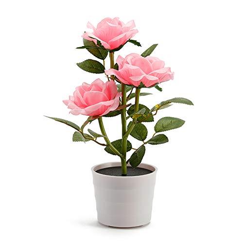 MROSW Decoratieve slaapkamer nachtzonne-aangedreven kunst plant tuin gazon balkon bloempot LED tafellamp roze