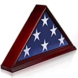 ANLEY Solid Wood Memorial Flag Display Case with Base - Real Glass Front - Wall Mounted Burial Flag Frame - American Veteran USA 5' x9.5' Folded Flags Shadow Box