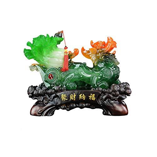 Buddha decorativos PI XIU Estatua Decoración Jade repollo reuniendo Apertura de la riqueza Felicidades Gifts Sala de estar Oficina Desktop Decoraciones Buddha Figures Sculpture ( Color : Green )