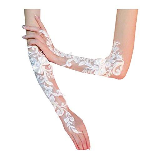 Longs gants de mariée en dentelle perlés strass Fingerless pour la fête de bal de mariage, B