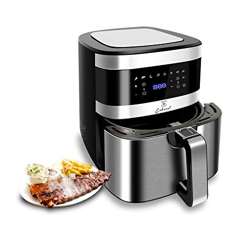 Cokunst Air Fryer 6.6 Quart 1500-Watt 8-in-1 AirFryer Toaster Oven for Roasting/Baking/Grilling, with One-Touch Programs, 8 Presets, Dishwasher Safe Nonstick Basket & Auto Shutoff