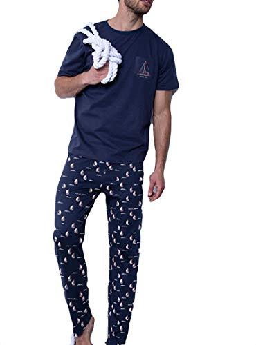 ANTONIO MIRO - Pijama Hombre Antonio Miró Largo náutico Hombre Color: Marino Talla: Large