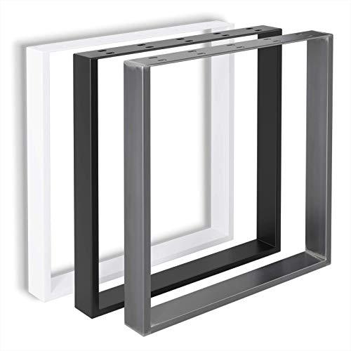 FIXKIT Lot de 2 Pieds de table en métal DIY pour tables à manger, bureaux, tables basses, bancs | Comprend noir, industriel et blanc | Facile à assembler | 70 * 72cm Industriel