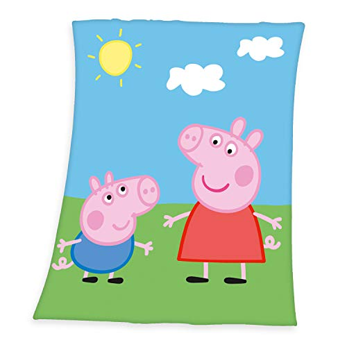 Herding Peppa Pig Fleecedecke, Polyester, Mehrfarbig, 130 x 160 cm