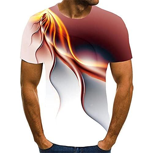 Musculosa Shirt Hombre Verano Estirarse Cuello Redondo Hombre Shirt Novedad 3D Estampado Manga Corta Casuales Camisas Creativa Streetwear Culturismo Ejercicio Hombre T-Shirt T02 M