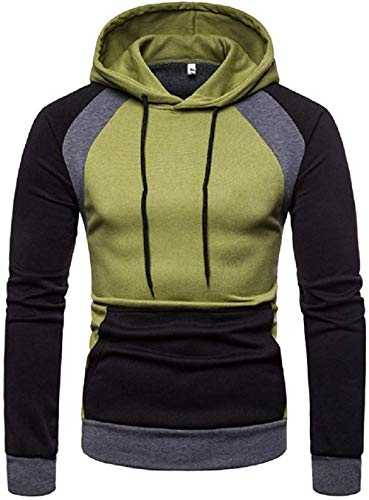 Mens Classic Fit Color Block Pullover Fleece Hoodie Cozy Sport Outwear,Armygreen,Medium