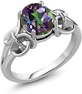 925 Sterling Silver Mystic Topaz Women's Ring Green Oval 9X7MM 2.30 Cttw (Available 5,6,7,8,9)