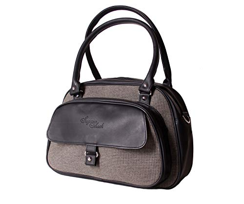 SugarShock Damen Shopper Sinaida Pepita retro Handtasche, Farbe:grau schwarz