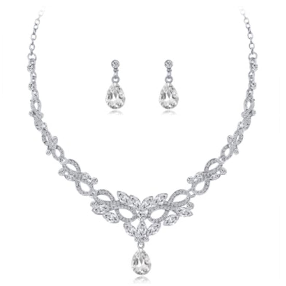 Gemcres Popular products Wedding Necklace Earrings Ranking TOP6 Bridal Jewelry Set Crystal