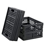Gloreen 16 Quart Folding Crate Basket, Grey Collapsible Storage Milk Crates, 3 Packs