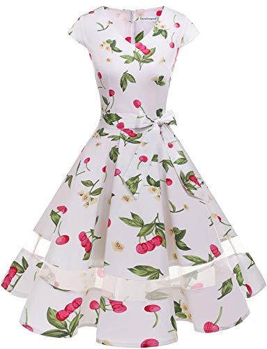 Gardenwed 1950er Vintage Retro Rockabilly Kleider Petticoat Faltenrock Cocktail Festliche Kleider Cap Sleeves Abendkleid Hochzeitkleid White Small Cherry M