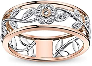 Rnydrny Floral Ring Proposal Diamond Jewelry 18K Rose Gold Vine Flower Bridal Engagement Rings Wedding Band Women's 925 St...