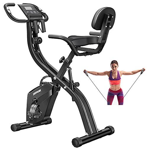 Folding Exercise Bikes DISPANK 3-in-1 Folding Indoor Recumbent Exercise Bikes, Lightweight Foldable Stationary Bike with Arm Resistance Band and Backrest, 10-Level Resistance for Men and Women