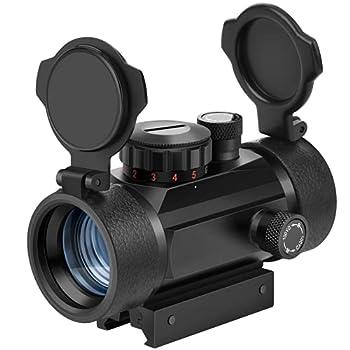 EZshoot Red Green Dot Sight Tactical Scope Reflex Sight with Lens Cap 20mm/11mm Weaver Picatinny Rail Mount
