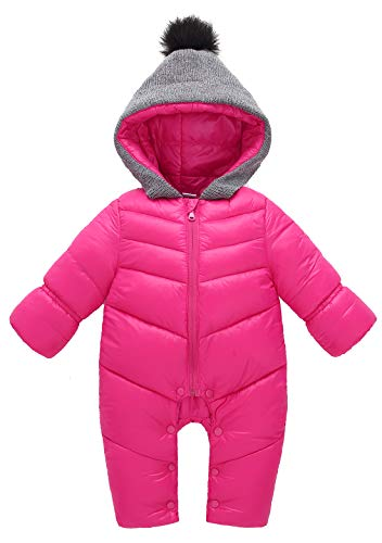 Aivtalk Baby Girl Pink Hooded Duck Down Polyester Jumpsuit 12-18 Months Winter Long Sleeve Bodysuit Onesie Snowsuit