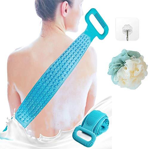 Cepillo para la espalda y el cuerpo, 90 cm, silicona para la espalda, cepillo de masaje, para exfoliar el cuerpo y limpiar profundamente, muy suave, cepillo de baño para mujeres y hombres