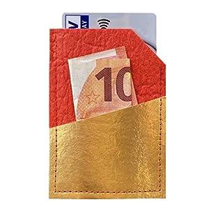 VEGAN & NACHHALTIG Portemonnaie I Geldbörse I Brieftasche MINI WALLET aus PINATEX (Ananasleder) – rot gold