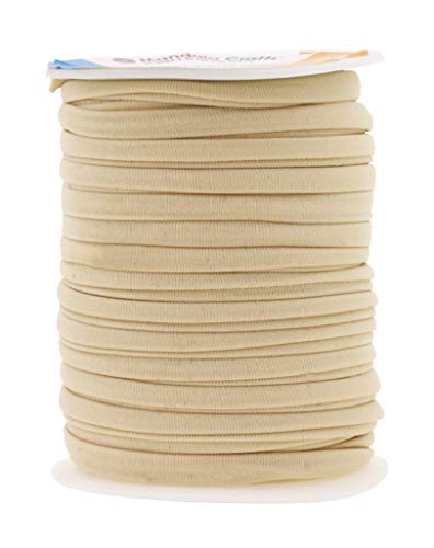 Mandala Crafts Soft Elastic Cord from Spandex Nylon Fabric for Jewelry Making, Sewing, and Crafting (Cream)