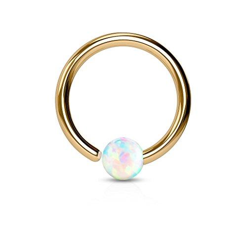 Paula & Fritz® Ring aus Edelstahl Chirurgenstahl 316L Roségold [Dicke: 1mm; Länge: 6mm; Kugelgröße: 2mm] für Lippe, Nase, Augenbraue mit Opal Weiß