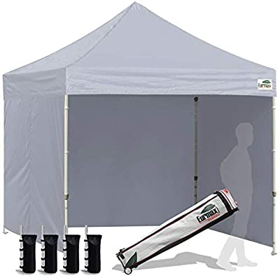 Eurmax 10'x10' Ez Pop-up Canopy Tent Commercial Instant Canopies with 4 Removable Zipper End Side Walls and Roller Bag, Bonus 4 SandBags