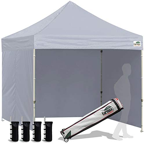 Eurmax 8x8 Feet Ez Pop up Canopy Tent, Pop-up Instant Tent, Outdoor Canopies Commercial Gazebo with Sidewalls and Roller Bag, Bonus 4 SandBags, (Grey)