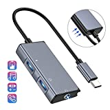 USB C to Headphone Adapter, 3 in 1 USB C to 3.5mm Audio with USB Type C Female Audio Port + PD Power Port, Built-in DAC Technology Ensure Stable for Galaxy Note 10 Aux Adapter (Space Grey)