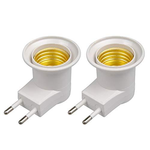 Base de la lámpara E27 LED receptáculo Macho a Tipo de Enchufe de la UE del convertidor del Adaptador de Bombilla Titular con ON/Off zhibeisai (blanco*2)