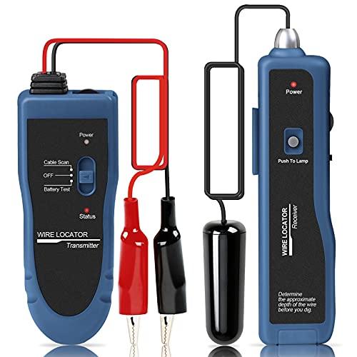 Kolsol Localizador de cables subterráneo F02, trazador de cables con auriculares, probador de cables para valla de perro cables de control de riego