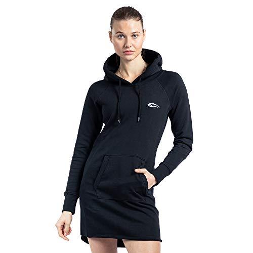 SMILODOX Damen Sweatkleid Enjoy | Hoodie Kleid für Sport Fitness & Freizeit | Oversize Kapuzenpullover | Pullover - Sportpullover - Sweatshirt, Farbe:Schwarz, Größe:XS