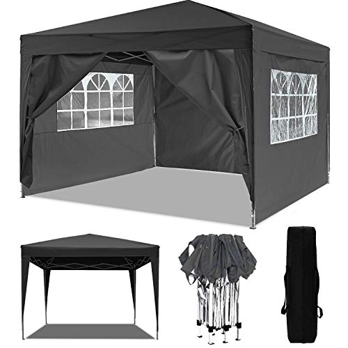 Oppikle 3x3m/3x6m Gazebo, Waterproof Garden Gazebo with 4 Side Panels,Adjustable Marquee Tent with Carry Bag,Powder Coated Steel Frame for Beach/Instant Shelter/Flea Market/Camping/Wedding [UK STOCK]