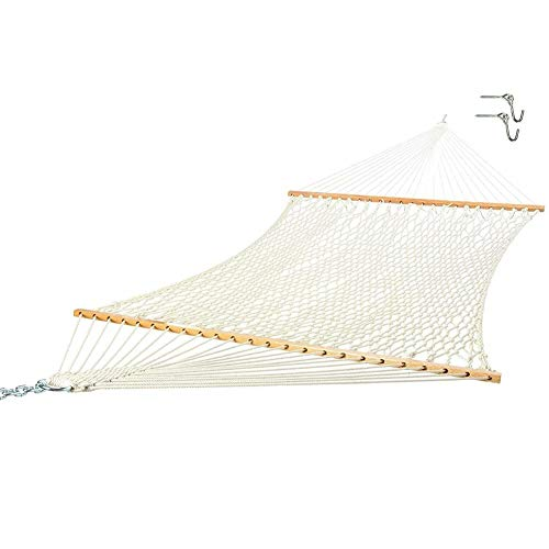 HHORB 2-Person Woven Cotton Rope Double Hammock for Porch, Backyard, Patio, W/Spreader Bars, Carrying Case