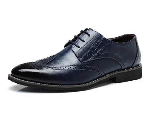 Scarpe Uomo Pelle, Stringate Brogue Derby Basse Elegante Sera Oxford Vintage Verniciata Nero Marrone Blu Rosso 38-48EU BL40
